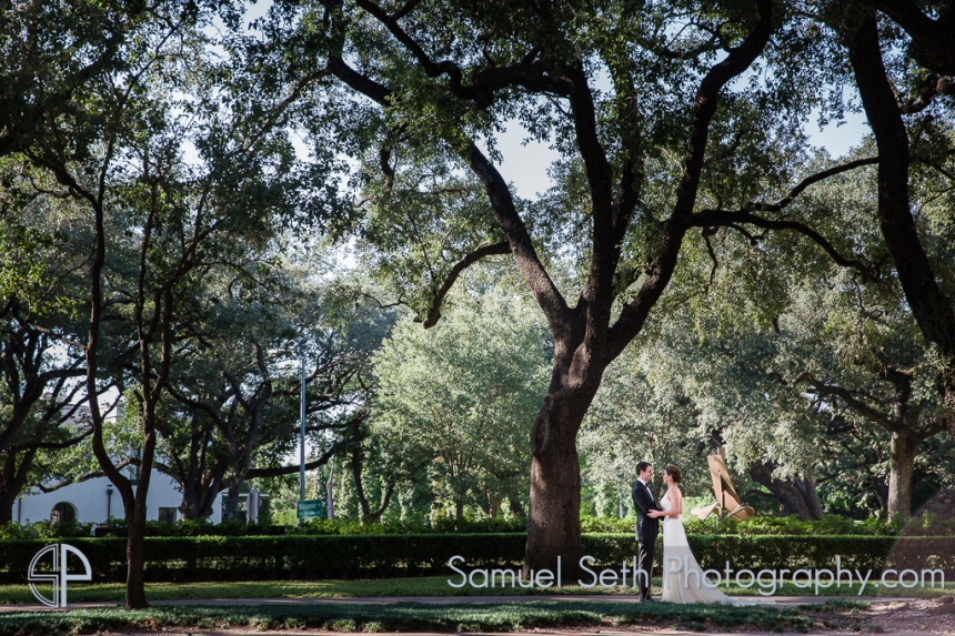 Bride and Groom under Oak Trees